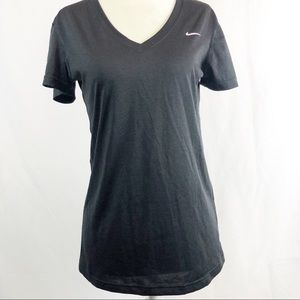 Nike Dri Fit V Neck Black Basic Workout Athletic T